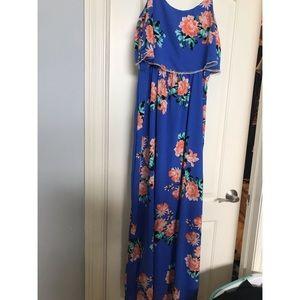 Floral Blue Maxi Dress Size Large